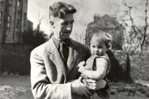 George Orwell with his son Richard at home in Islington.